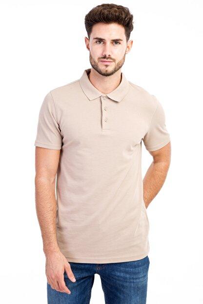Kiğılı Erkek Bej Polo Yaka Düz Slimfit T-Shirt - 9093