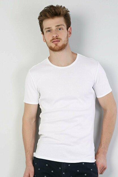 Colin's Slim Fit Bisiklet Yaka Erkek Beyaz Kısa Kol Tişört