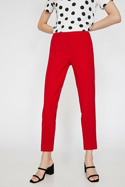 Koton Kadın Kırmızı Düz Kesim Pantolon 0KAK42500RW