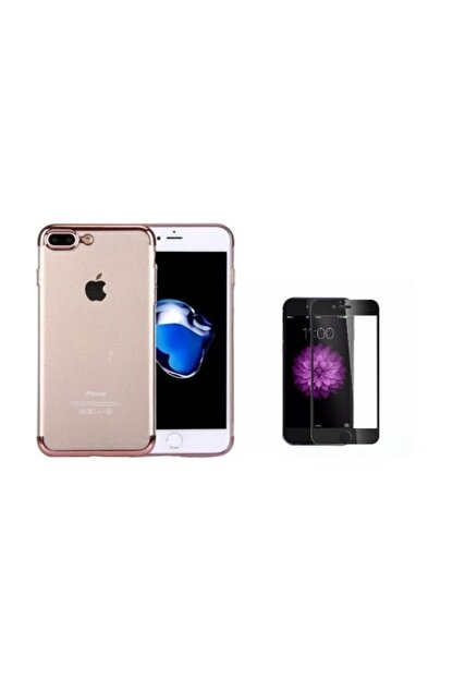 Teleplus Iphone 8 Plus Kenarı Renkli Desenli Silikon Kılıf + Tam Kapatan Cam