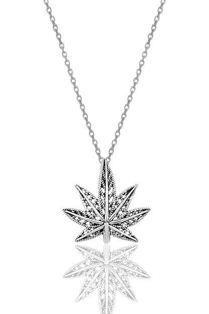 Söğütlü Silver Gümüş Oksitli Yaprak Modeli Kolye SGTL10008
