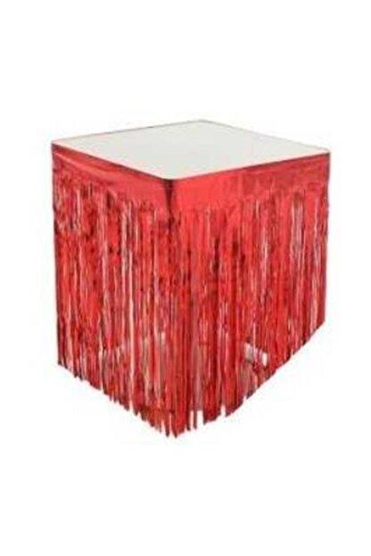 Partici Metalize Kırmızı Püsküllü Masa Eteği