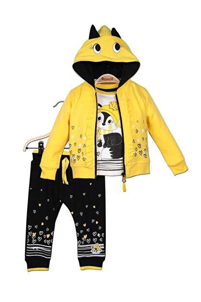 Miniworld Kız Bebek Hırka Sweatshirt Pantolon 3lü Takım 9-24 Ay 14791