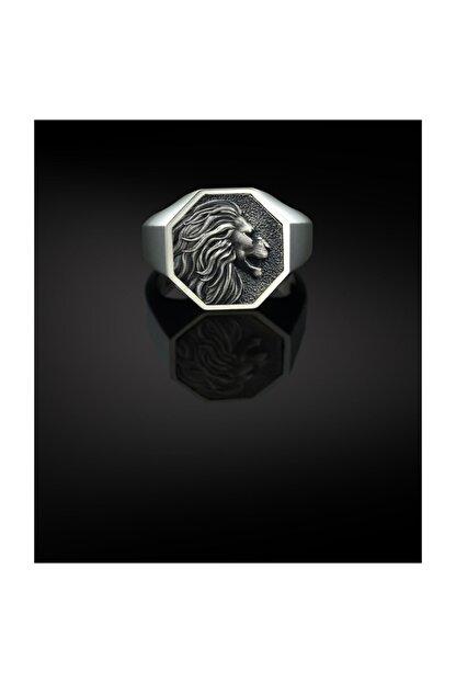 Bysilverstone Gümüş Aslan Geometrik Erkek Yüzük