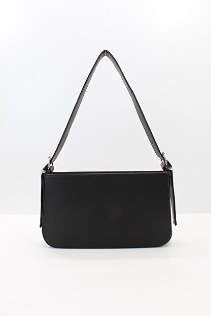 roma italy Kadın Siyah Fermuarlı Baget Çanta