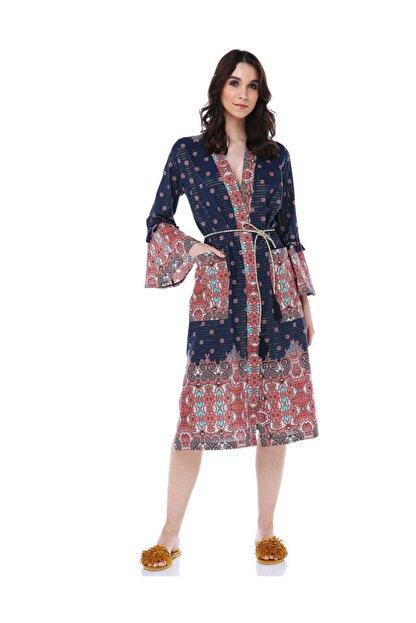 Diger Karakterler Etnik Desenli Kol Detaylı Yazlık Uzun Kimono