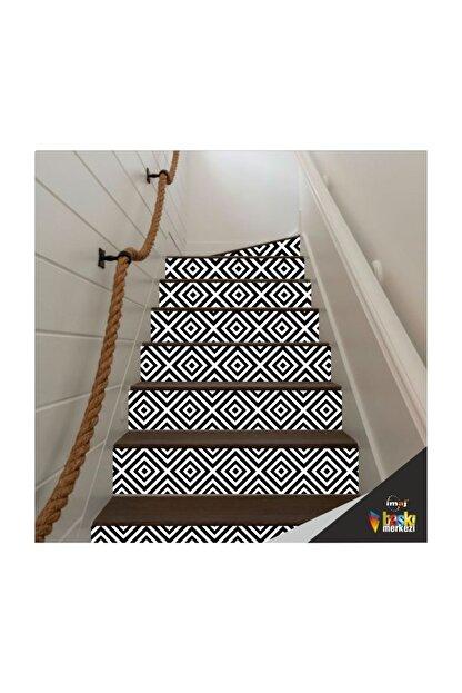 Bigaimaj Merdiven Sticker Folyo Kaplama  5 Adet Siyah-beyaz (18cm X 120cm)