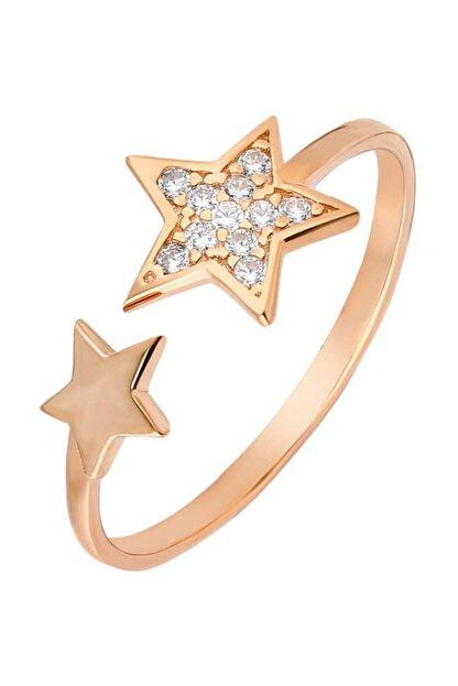 Tesbihane Zirkon Taşlı Yıldız Tasarım Rose Renk 925 Ayar Gümüş Bayan Yüzük