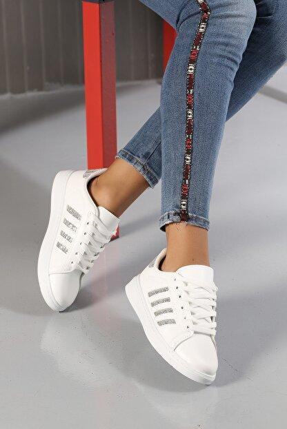Ayakkabı Modası Beyaz-Gümüş Kadın Sneaker M4000-19-101001R