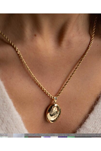 Reis Kuyumculuk Kadın Elips Madalyon Sarı Altın Kolye T488.