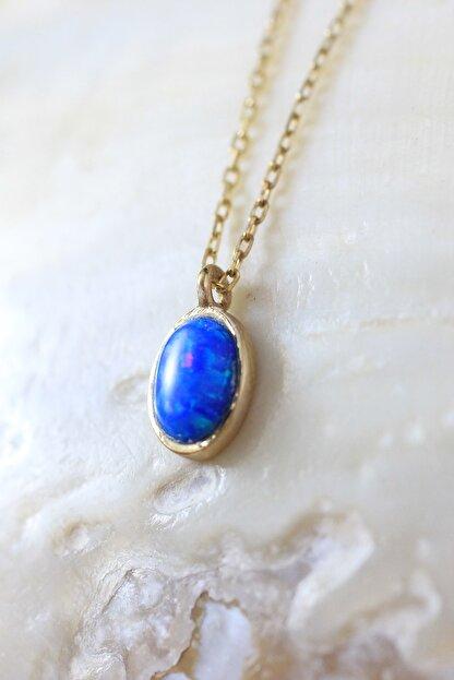 Dalmarkt 925 Ayar Gümüş Üzeri Altın Kaplama Mavi Opal Taşlı Kolye