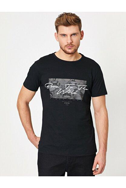 Koton Erkek Siyah Baskili T-Shirt 0YAM11908LK