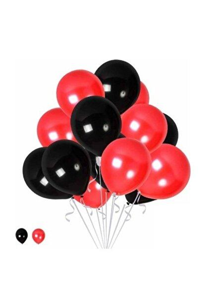 TATLI GÜNLER 15 Kırmızı 15 Siyah Konsept Balonlar Metalik Parlak 30-35 cm