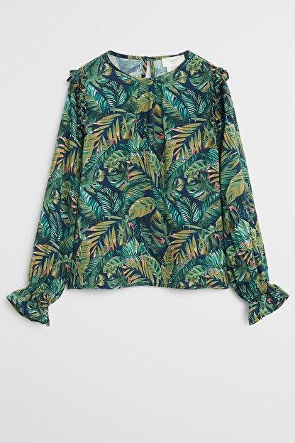 Mango Tropikal desenli bluz