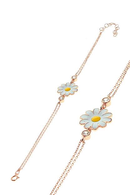 Söğütlü Silver Kadın Rose Renk Gümüş Mineli Papatya Bileklik SGTL8640