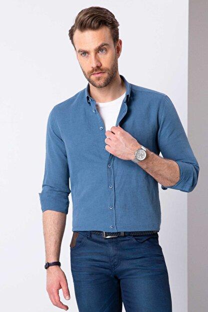 Pierre Cardin Erkek Mavi Slim Fit Uzun Kollu Gömlek