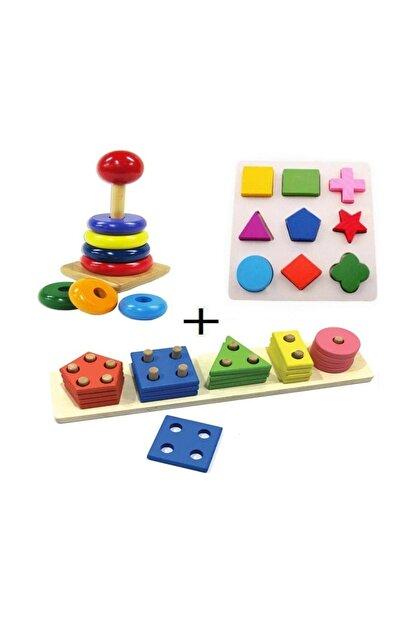RoseRoi 3 Parça Ahşap Zeka Eğitici Oyuncak Geometrik Geçmeli Şekiller +Ahşap Tahta Bultak + Ahşap Kule Oyunu