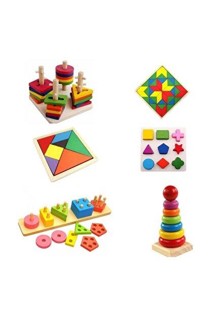 RoseRoi Ahşap Eğitici Oyuncak Bultak+Geometrik Set +Tangram+Kule 6'lı Set