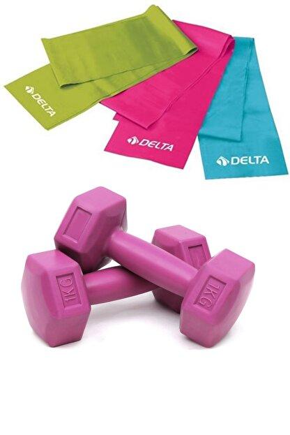 Delta 3 lü Pilates Bandı Farklı Dirençte Plates Lastiği, 1 Kg Dambıl Seti