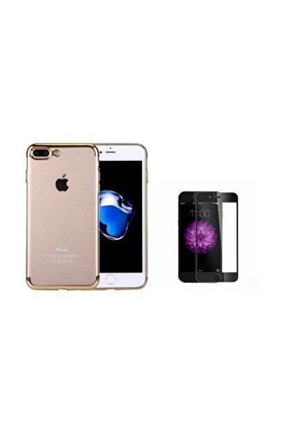 Teleplus Iphone 7 Plus Kenarı Renkli Desenli Silikon Kılıf + Tam Kapatan Cam