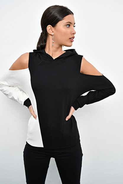 Cool & Sexy Kadın Siyah Renk Bloklu Omuzları Açık Sweatshirt B23