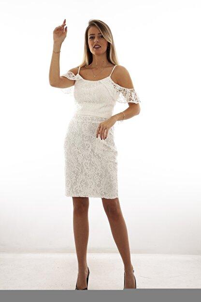 Ardanewline Kadın Ekru Elbise 130122-10