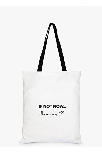 Çınar Bez Çanta If Not Now Baskılı Beyaz Bez Çanta