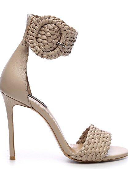 Kemal Tanca Hakiki Deri Bej Kadın Klasik Topuklu Ayakkabı 299 10595 02 BN AYK Y19