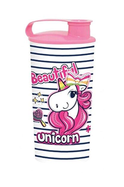 Herevin 470 Ml Unicorn Kapaklı Plastik Bardak - Kız Çocuk - Pembe