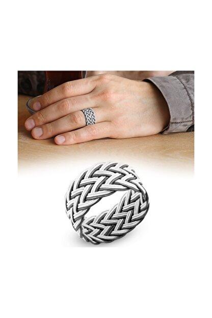 Tesbihane Beyaz-Siyah Renkli 1000 Ayar Gümüş Trabzon El Örmesi Kazaz Yüzük 102000418