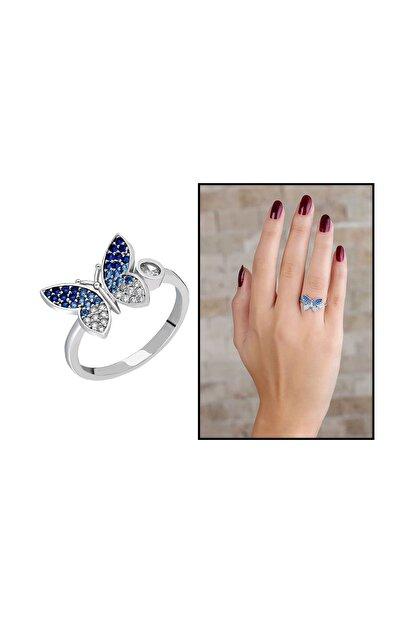 Tesbihane Mavi-Beyaz Zirkon Taşlı Kelebek Tasarım Üretildiği Malzeme : 925 Ayar Gümüş Kadın Yüzük 102001623