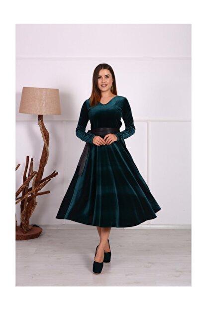 giyimmasalı Kadife Midi Tasarım Büyük Beden Elbise - Zümrüt Yeşil