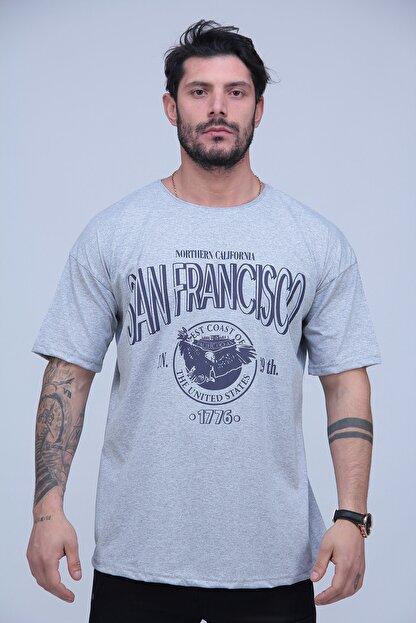 Black Sokak Erkek Gri San Francisco Baskılı Oversize Tshirt