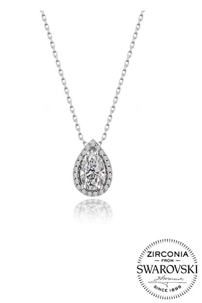 Söğütlü Silver Gümüş Swarovski Taşlı Pırlanta Modeli Damla Kolye Sgtl20517Kolye