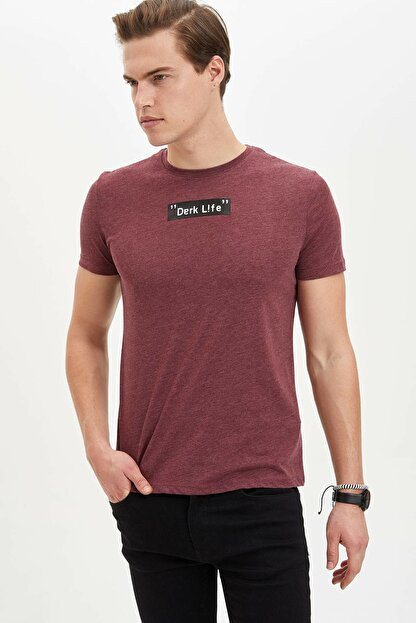 Defacto Erkek Bordo Baskılı Slim Fit T-Shirt M4080AZ.20SP.BR34