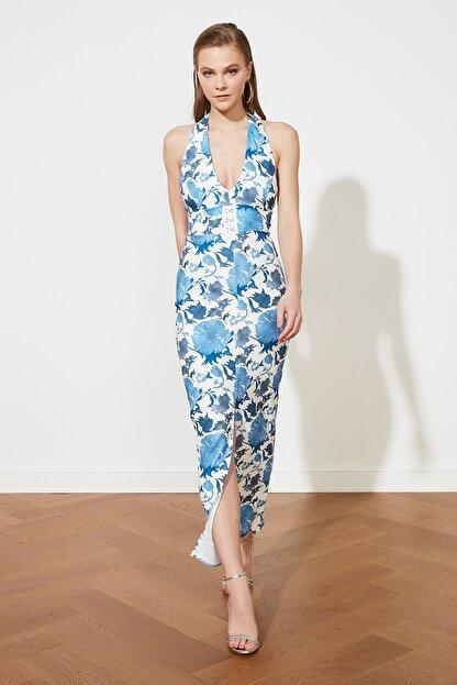 TRENDYOLMİLLA Mavi Çiçek Desenli Bel Detaylı  Abiye & Mezuniyet Elbisesi TPRSS21AE0144