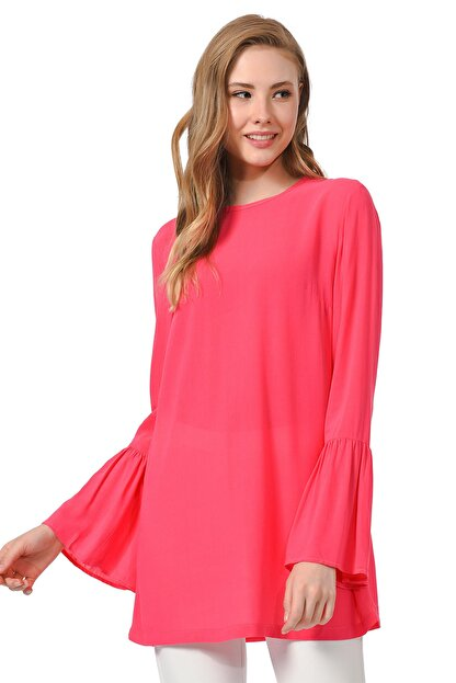 Mizalle Kadın Fuşya Basic Kolları Volanlı Bluz 19YGMZL1012015