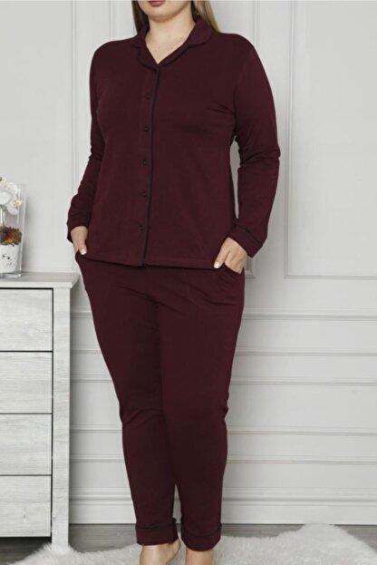 Nicoletta Mürdüm Kadın Pijama Takımı Düğmeli Uzun Kollu Büyük Beden Cepli