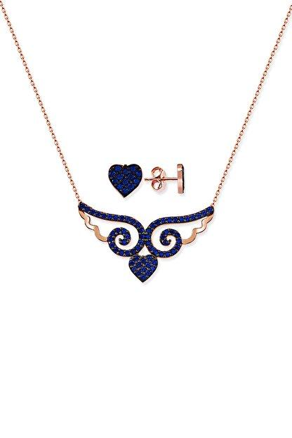 Gümüş Çarşısı Kadın Kalpli Melek Kanadı Kolye Küpe GCA324