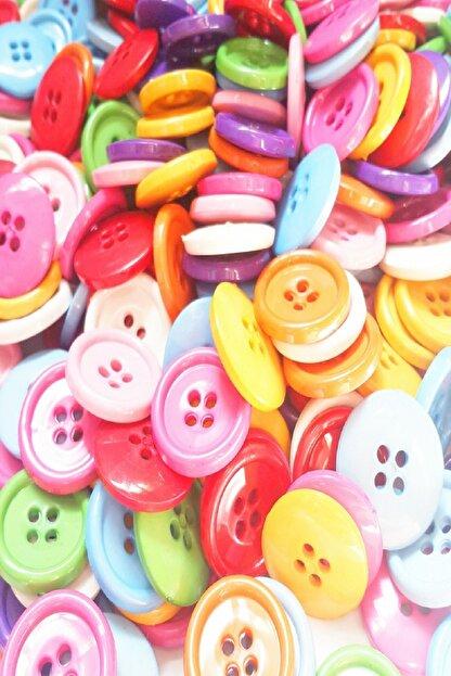 ByOzras Renkli Akrilik Yuvarlak Düğme 50 li