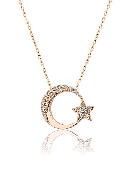 Papatya Silver 925 Ayar Rose Altın Kaplama Gümüş Ay Yıldız Kolye