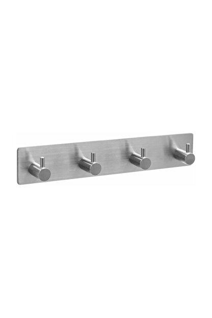 DELTAHOME Paslanmaz Çelik 4 Topuzlu Askılık / Havluluk - Yapışkanlı Sistem - Inox