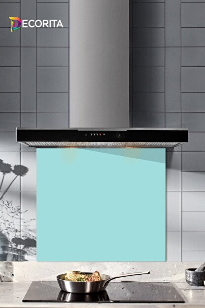 Decorita Düz Renk - Pudra Mavi   Cam Ocak Arkası Koruyucu      52cm x 60cm