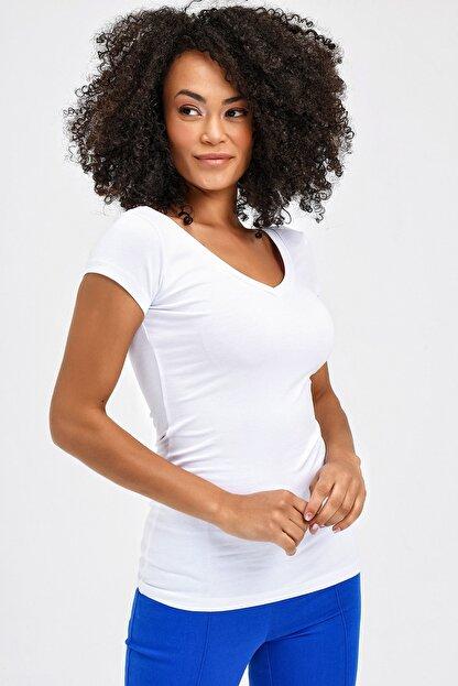 Jument Kadın Beyaz Ön-Arka V Yaka Kısa T-Shirt 5612