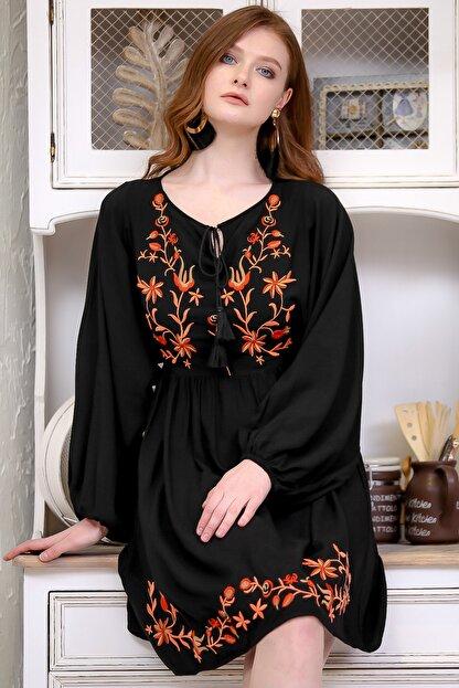 Chiccy Kadın Siyah Retro Çiçek Nakış Detaylı Balon Kol Dokuma Astarlı Elbise  M10160000EL97273