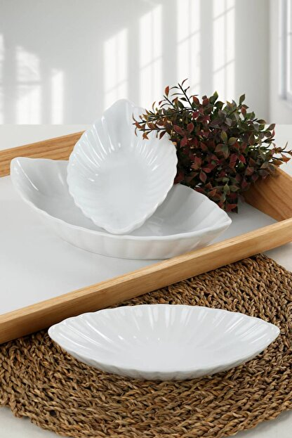 Keramika Beyaz Midye Kayık 20-25-30 Cm 3 Adet