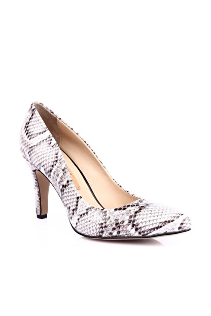 Dgn Beyaz Yılan Kadın Klasik Topuklu Ayakkabı 200-148