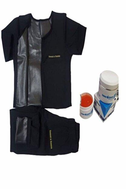 Sh Mağazacılık Sweet Sauna Korse Tayt Ve Fermuarlı Kollu Takım Jel Terleme Sweat Polymer Lisanslı