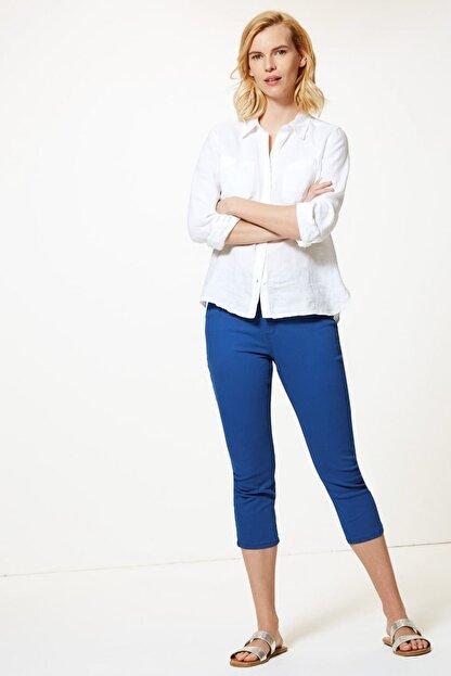 Marks & Spencer Kadın Lacivert Orta Belli Super Skinny Leg Kısa Jean Pantolon T57005110