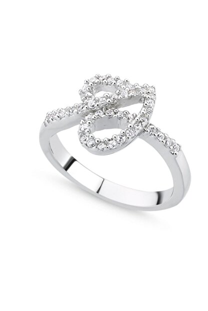 Tevuli Kadın Gümüş 925 Ayar Zirkon Taşlı Kalp Yüzük R85126